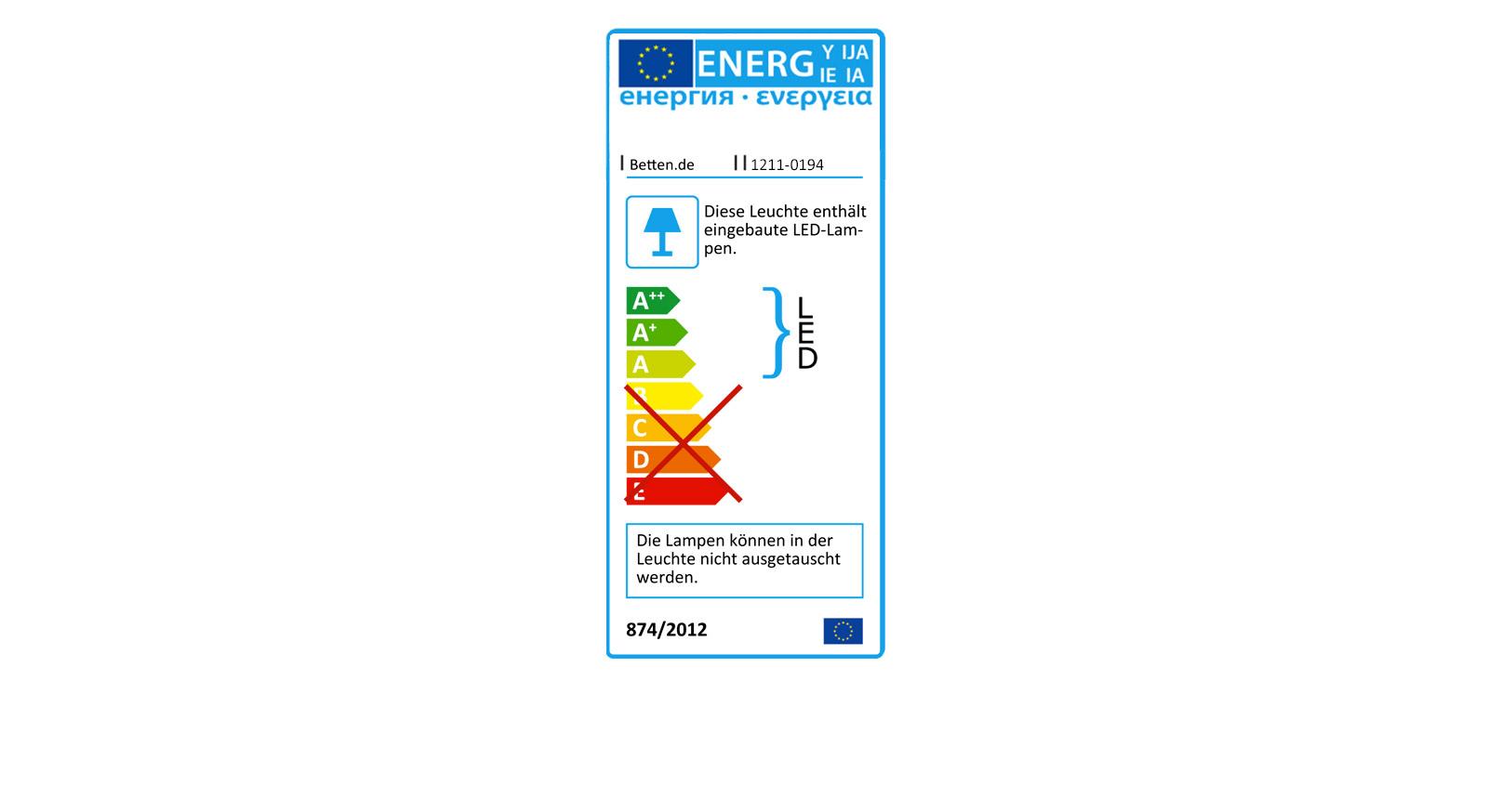 Energieverbrauchs-Kennzeichnung des Nachttischs Narita