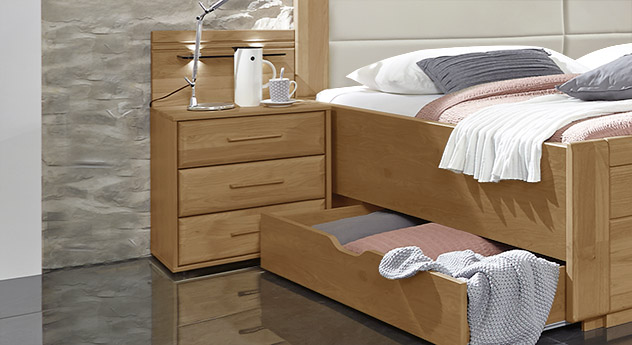 nachttisch im modernen landhausstil mit schubladen narita. Black Bedroom Furniture Sets. Home Design Ideas