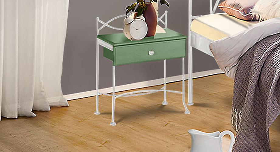 Nachttisch Ordino in Grün mit Weiß, silber-gewischt