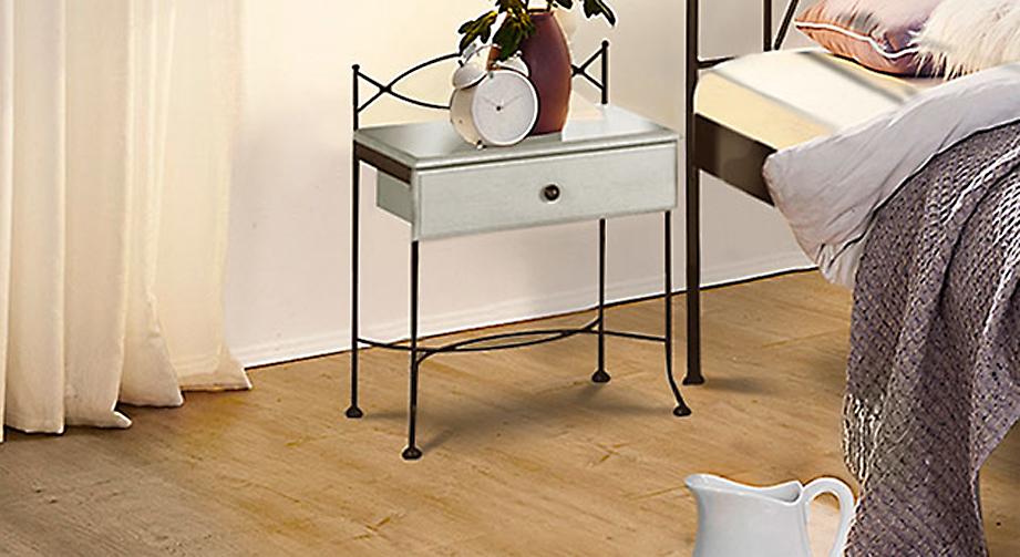 Nachttisch Ordino in Weiß mit Braun, gold-gewischt