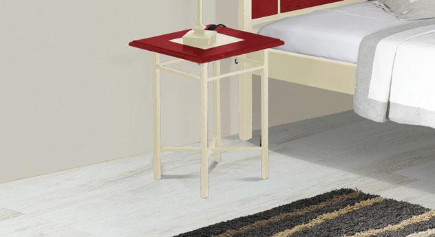 Nachttisch Pintana in roter Eiche und Creme-Gold