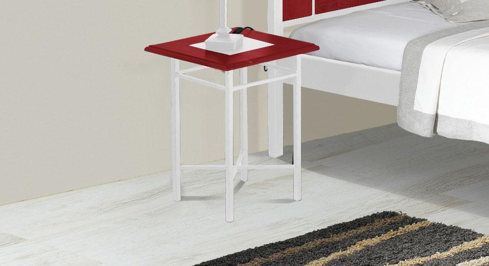 Nachttisch Metall Weis ~ Cm großer nachttisch aus eiche metall pintana