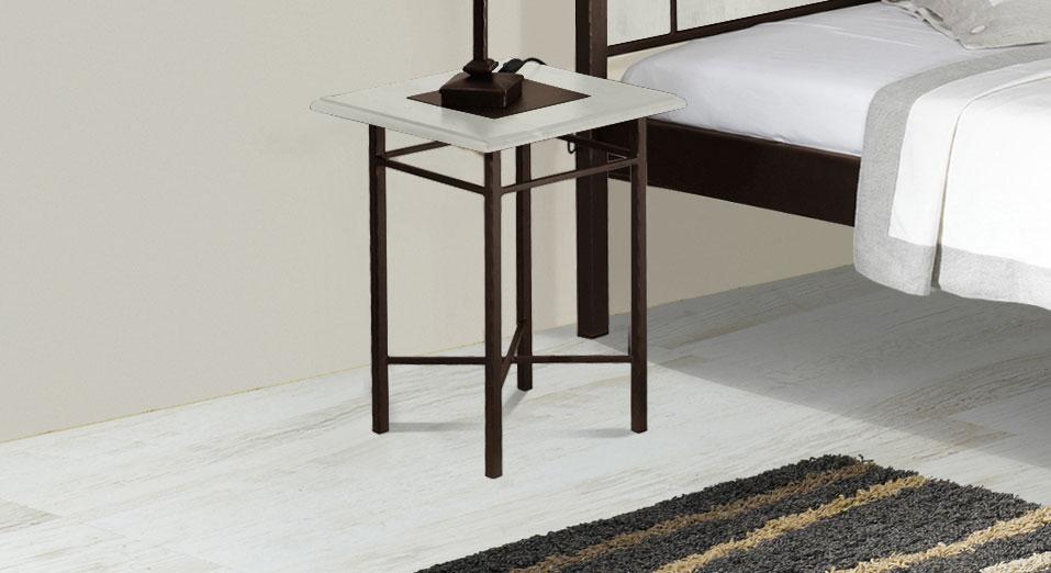 Nachttisch Pintana in weißer Eiche und Braun-Gold