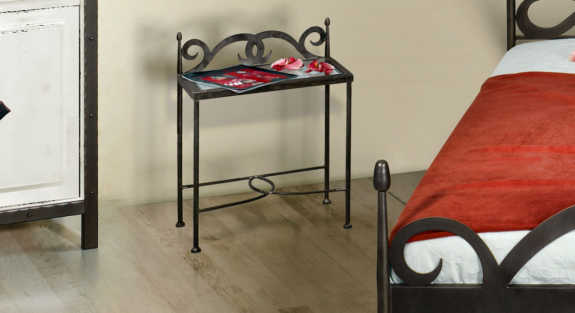 Nachttisch Temco aus anthrazitfarbenem gewischtem Metall