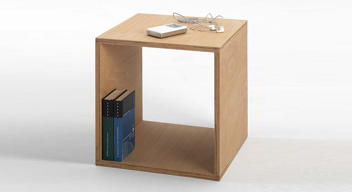 Nachttisch Tojo aus Buche massiv Multiplex schlicht und stabil