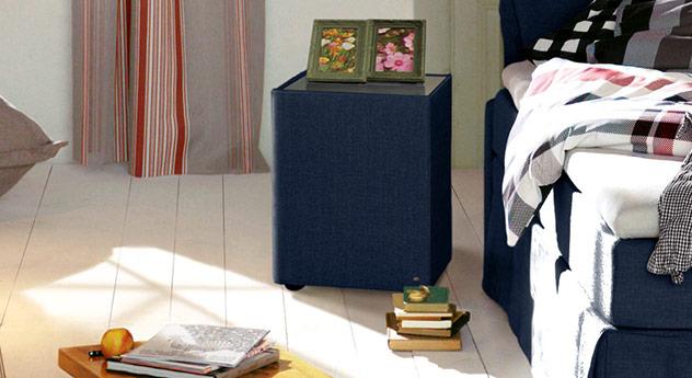 Nachttisch Tom Tailor Cushion mit marinefarbenem Stoffbezug