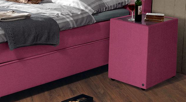 Nachttisch Tom Tailor Soft mit pinkfarbenem Stoffbezug