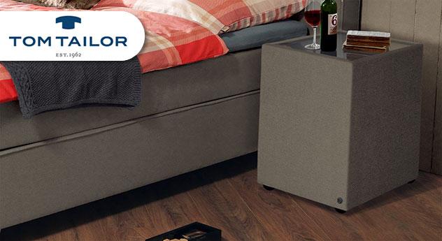 Nachttisch Tom Tailor Soft mit Stoffbezug in Taupe