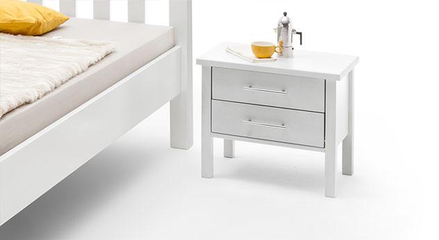 Nachttisch Valencia in weiß lackiert
