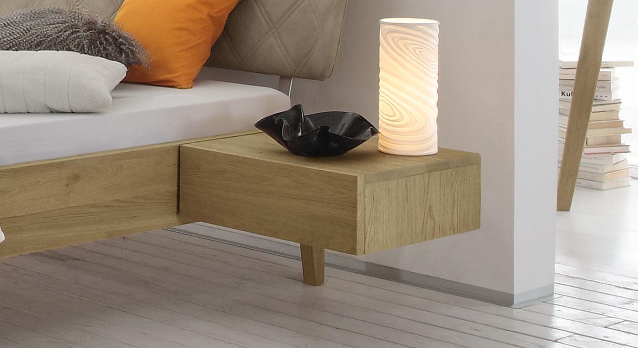 schwebe nachttisch mit selbsteinziehender schublade weno. Black Bedroom Furniture Sets. Home Design Ideas