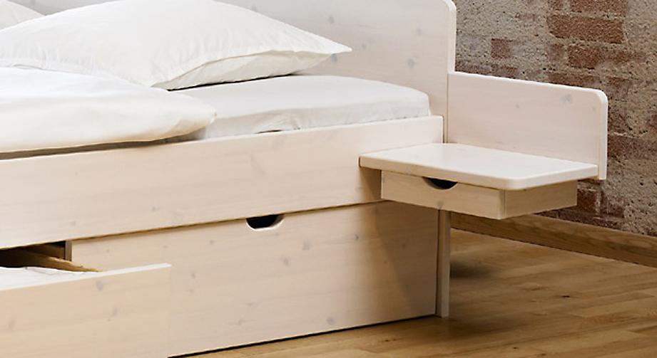 Nachttisch Norwegen aus weiß lasierter Kiefer, massiv