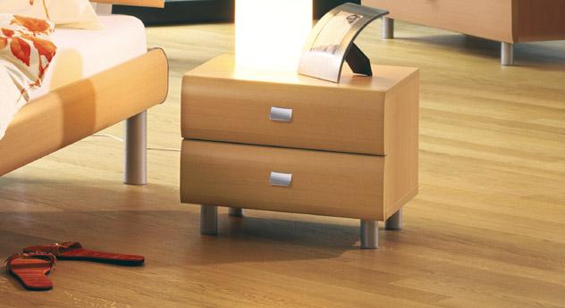 Nachttisch Rotondo mit zwei Schubladen Buche Alu-Füße rund