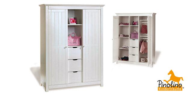 Massivholz-Kleiderschrank Nina in weiß