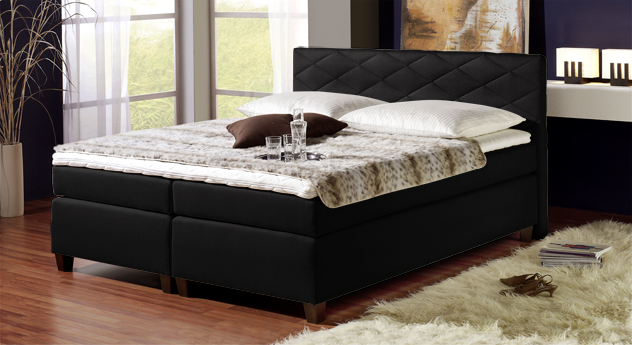 Spring-Box-Bett Nizza in Schwarz - 160x200cm