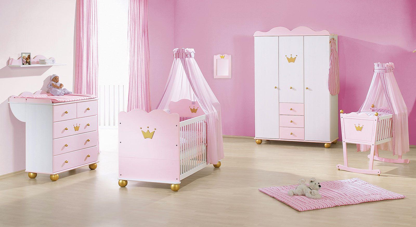 rosa prinzessinnen babyzimmer online kaufen prinzessin. Black Bedroom Furniture Sets. Home Design Ideas