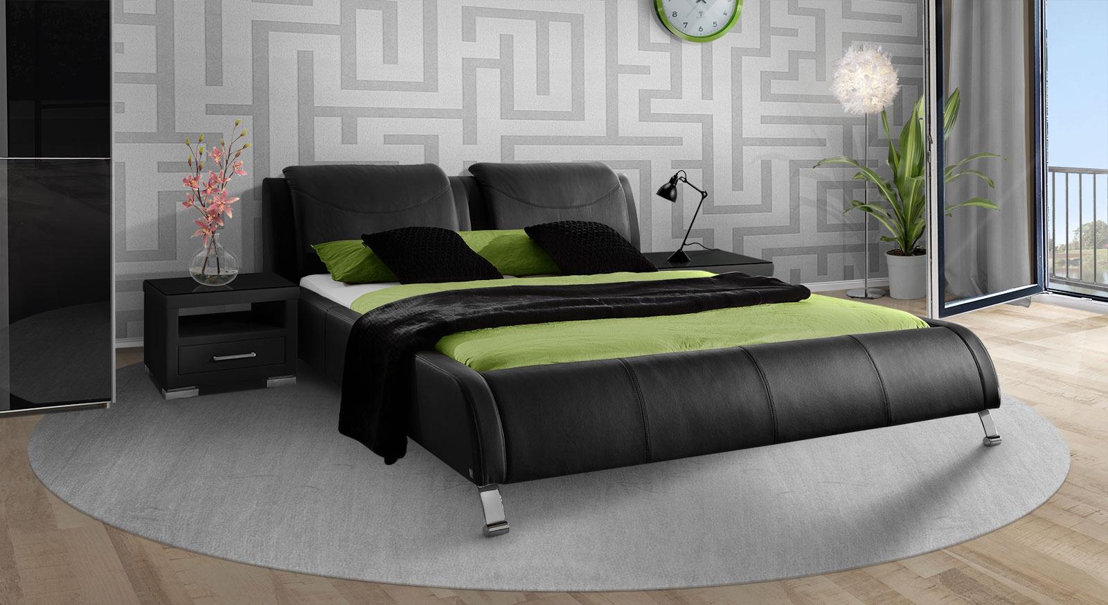 Modernes Polsterbett Coventry aus schwarzem Echtleder