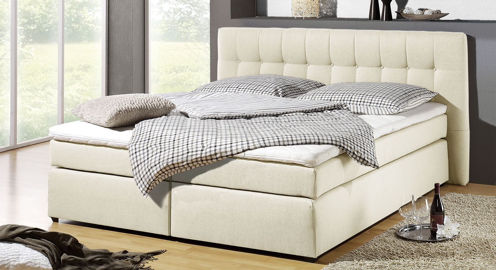 Boxspringbett Chicago in Creme