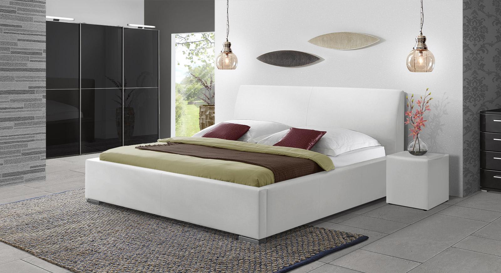 Polsterbett Firenze Comfort in weißem Kunstleder
