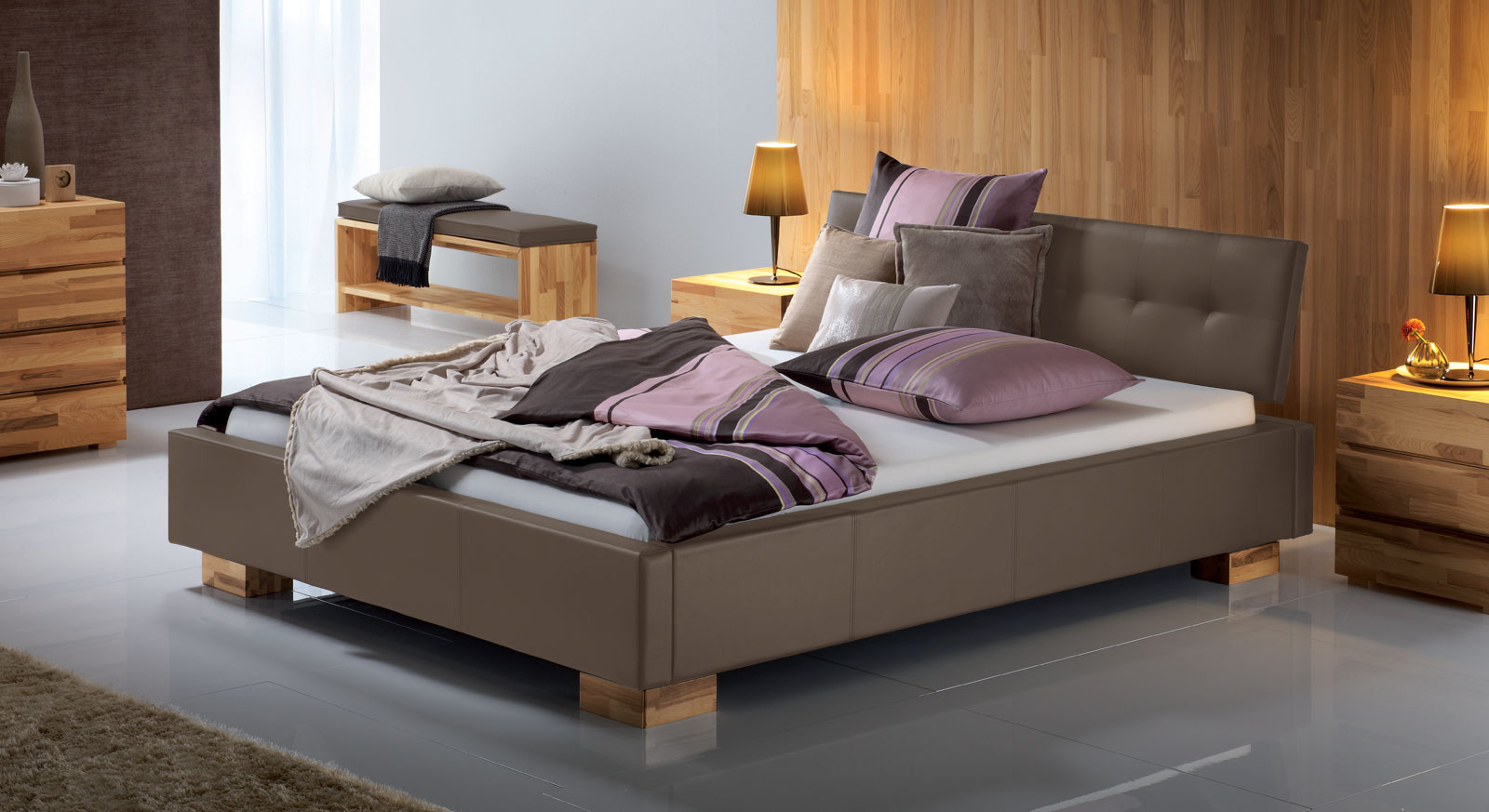 Polster Bett Larry in Taupe