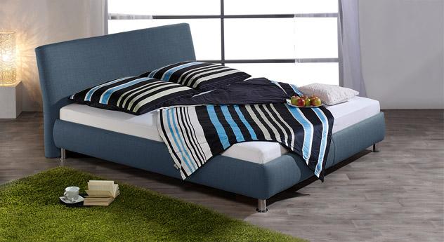 Blaues Polsterbett Pacora inklusive Bettkasten