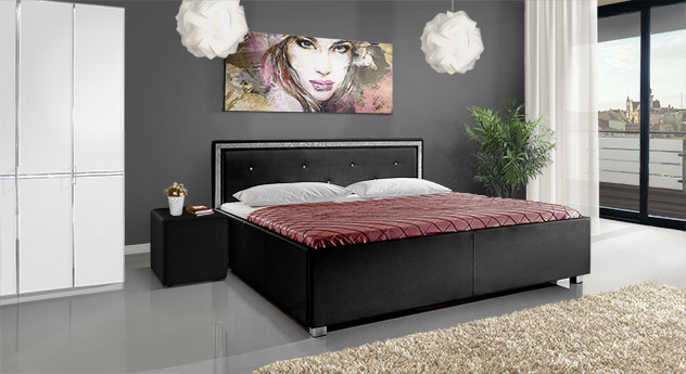 bett mit bord re und strass steinchen sheringham. Black Bedroom Furniture Sets. Home Design Ideas