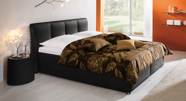 Bett Toskana schwarz Leder kaufen