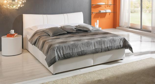 bett venetien - weißes polsterbett mit bettkasten günstig, Hause deko