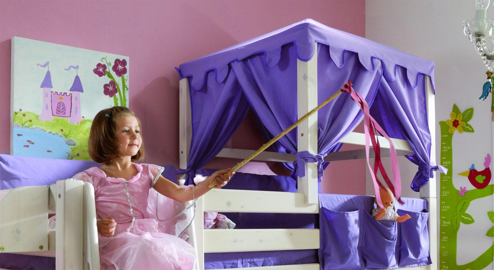 Prinzessinnen-Bettaufsatz Kids Paradise aus Kiefer in weiß lasiert