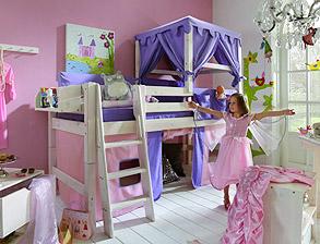 Prinzessinnen Hochbett Kids Paradise Aus Weißem Holz Mit Vorhang