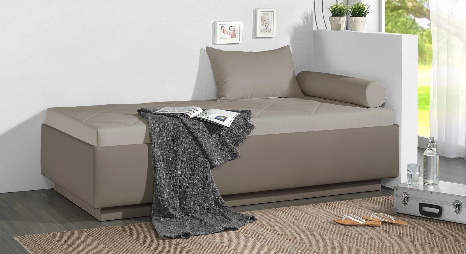 Relaxliege Eriko in graubeigem Microvelours und taupefarbenem Kunstleder