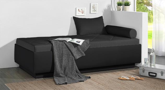 Relaxliege Eriko in schwarzem Microvleours und schwarzem Kunstleder