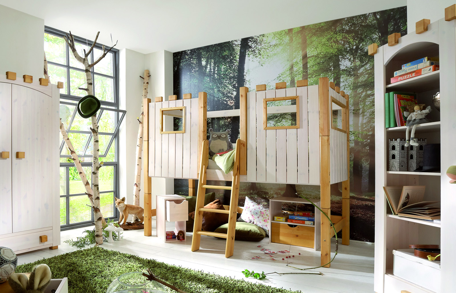 kinderhochbett als ritterburg aus holz kids paradise. Black Bedroom Furniture Sets. Home Design Ideas