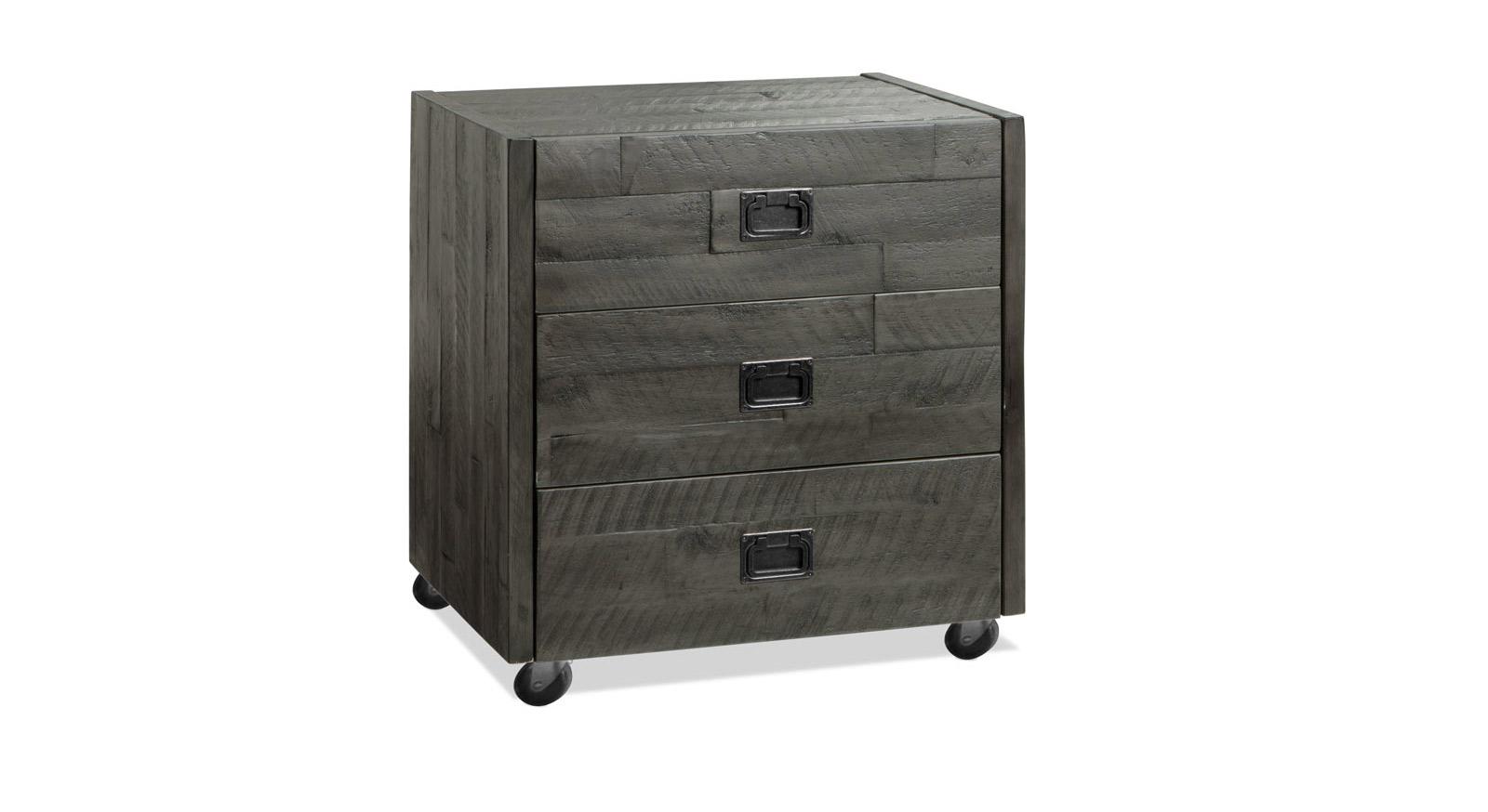 Rollcontainer Felipe aus grau lackiertem Massivholz