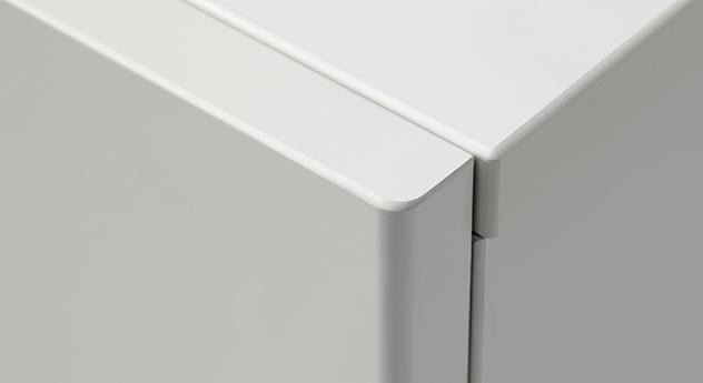 Nachttisch Bianco in mattem weiß mit sauber verarbeiteten Kanten