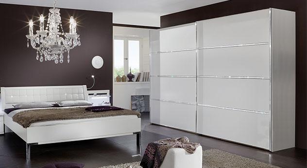 Schwebetüren-Kleiderschrank Huddersfield mit 3 Querleisten mit Kristallstein-Applikation