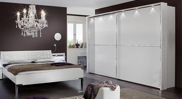 Schwebetüren-Kleiderschrank Huddersfield mit Kristallstein-Applikation und Passepartout-Rahmen mit Beleuchtung