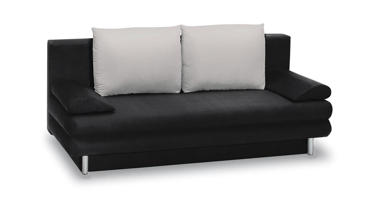 Schlafsofa aus Mircofaser in schwarz und hellgrau
