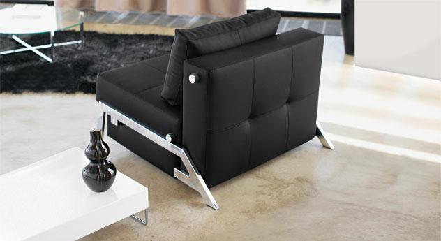 Schlafsofa Dowing mit einer Breite von 90cm in schwarzem Kunstleder