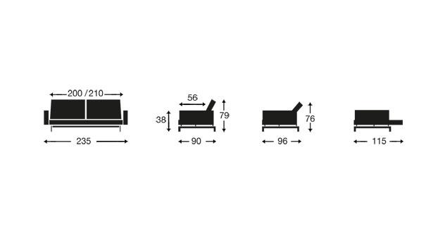 Eine Grafik mit Maßen für Schlafsofa Flash Light Deluxe
