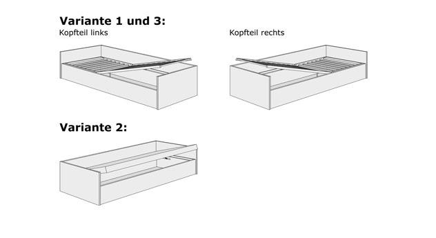 Grafik zum Bettkasten-System des Schlafsofas