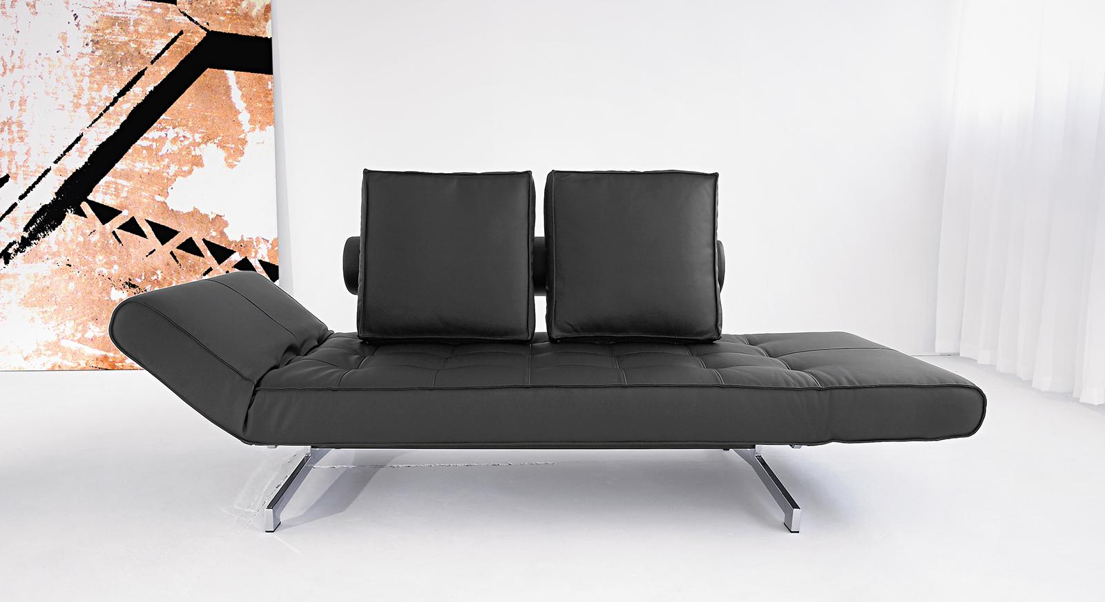 Modernes Schlafsofa Judy aus weichem, schwarzem Leder