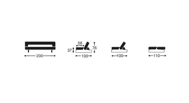 Grafik zu den Maßen vom Schlafsofa Kidwelly