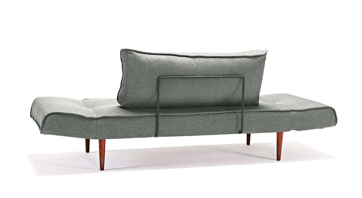 Hochgeklapptes Schlafsofa Lescott in Grau mit massiven Füßen in der Rück-Ansicht