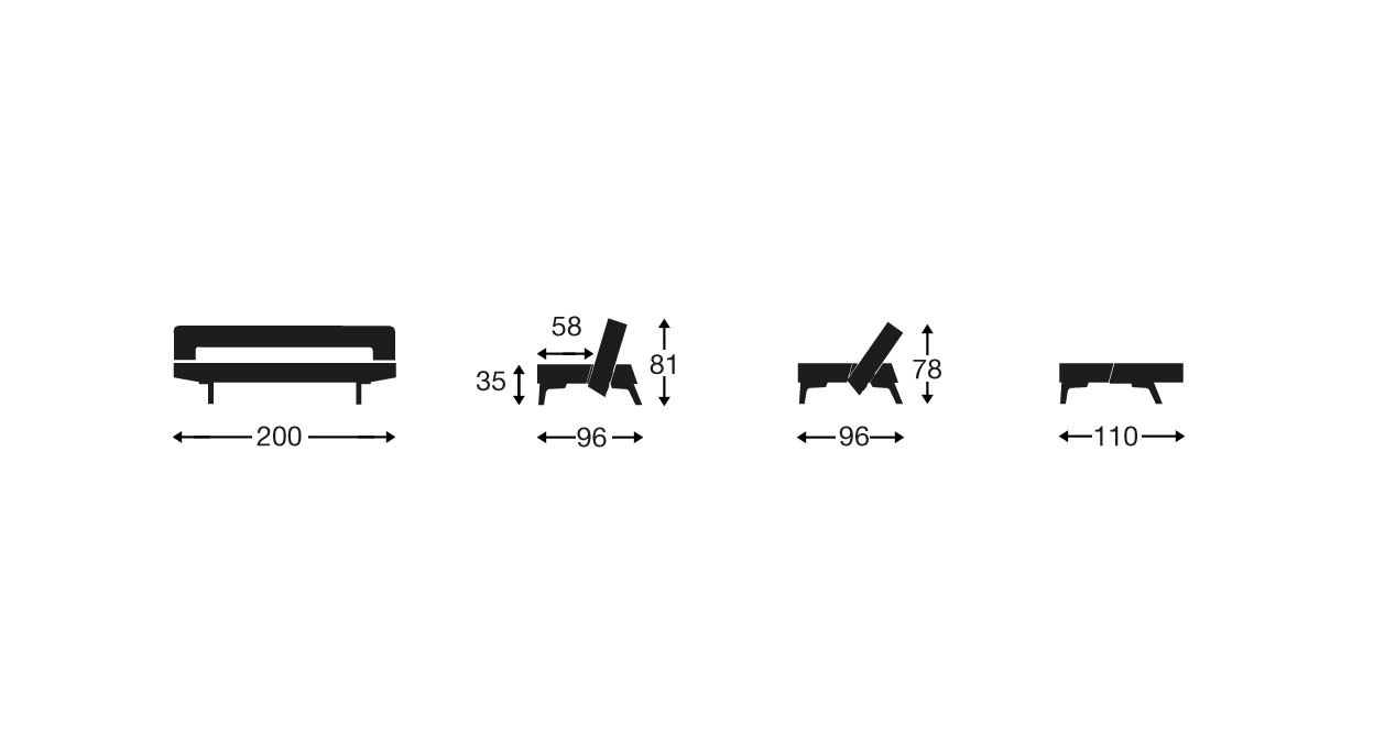 Positionen und Maße des Schlafsofas Littlemore