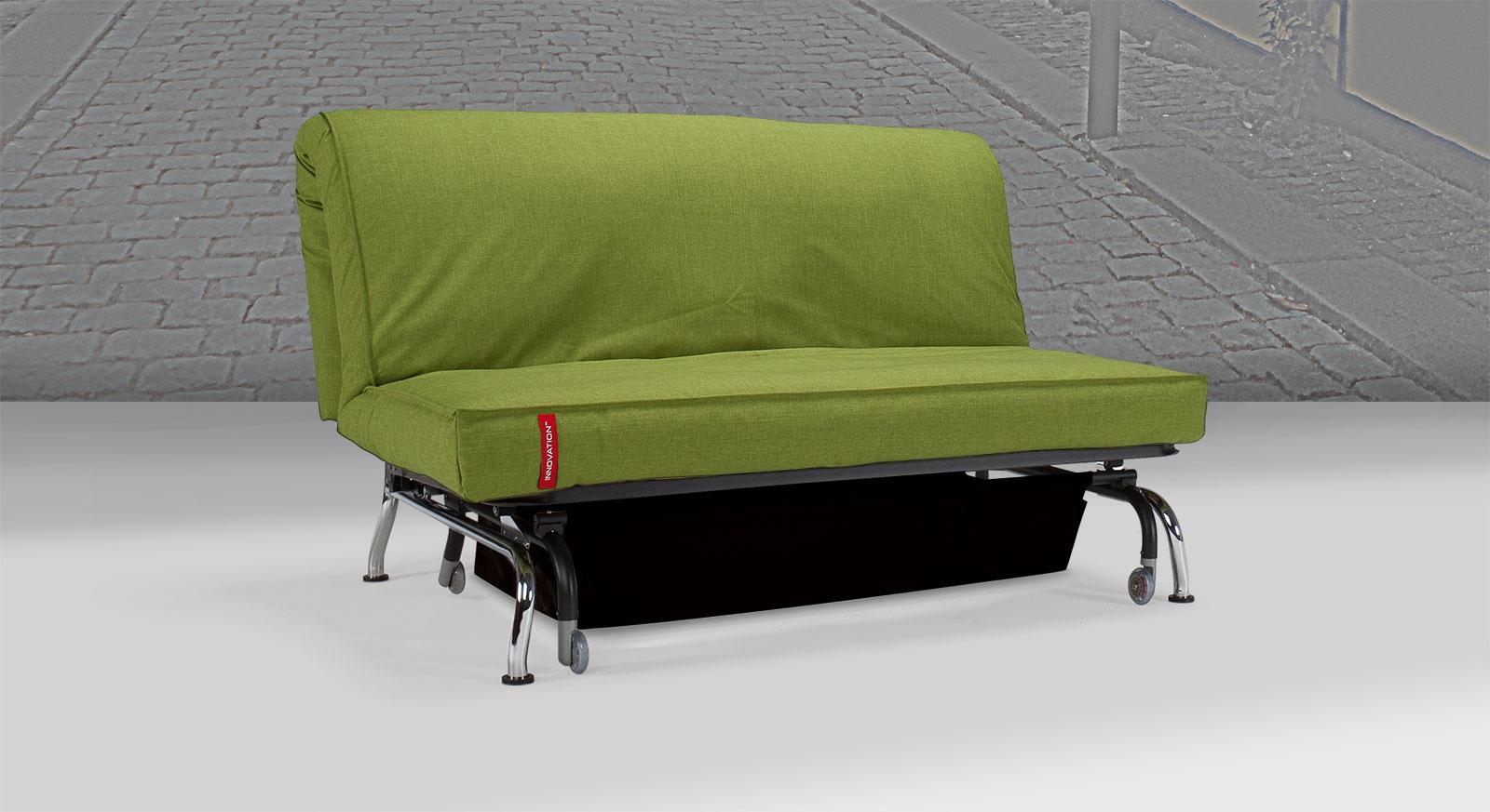Schlafsofa Medwin mit Stoffbezug aus Flashtex in Grün