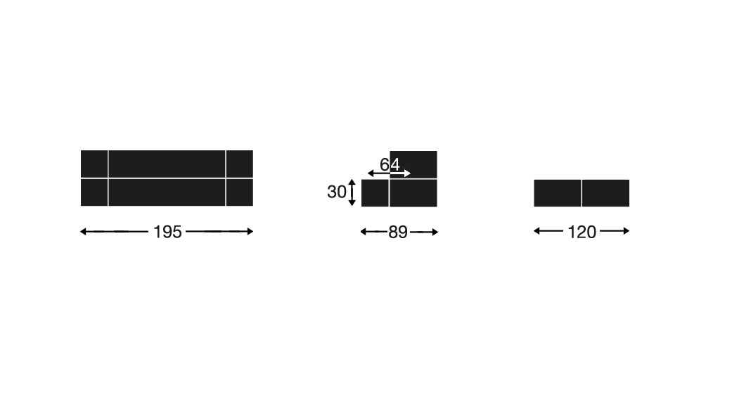 Eine Übersicht der Maße des Schlafsofas Ordway