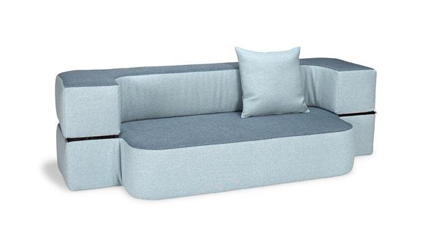Modernes Schlafsofa Ordway in Eisblau und Indigo
