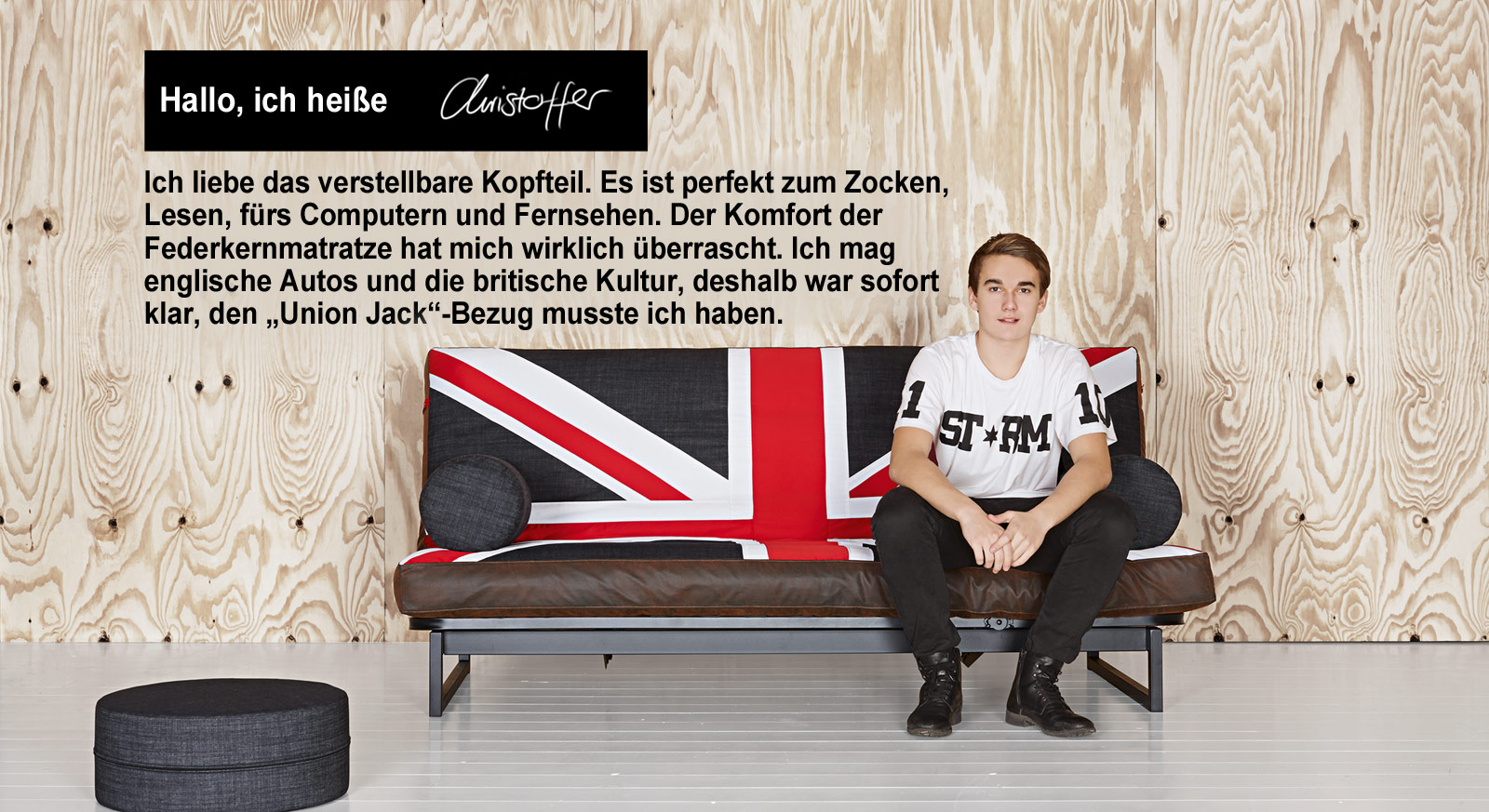schlafsofa mit britischer flagge als motiv rockstar deluxe. Black Bedroom Furniture Sets. Home Design Ideas
