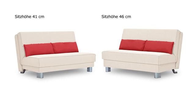 Schlafsofa Shenandoah in zwei Sitzhöhen.