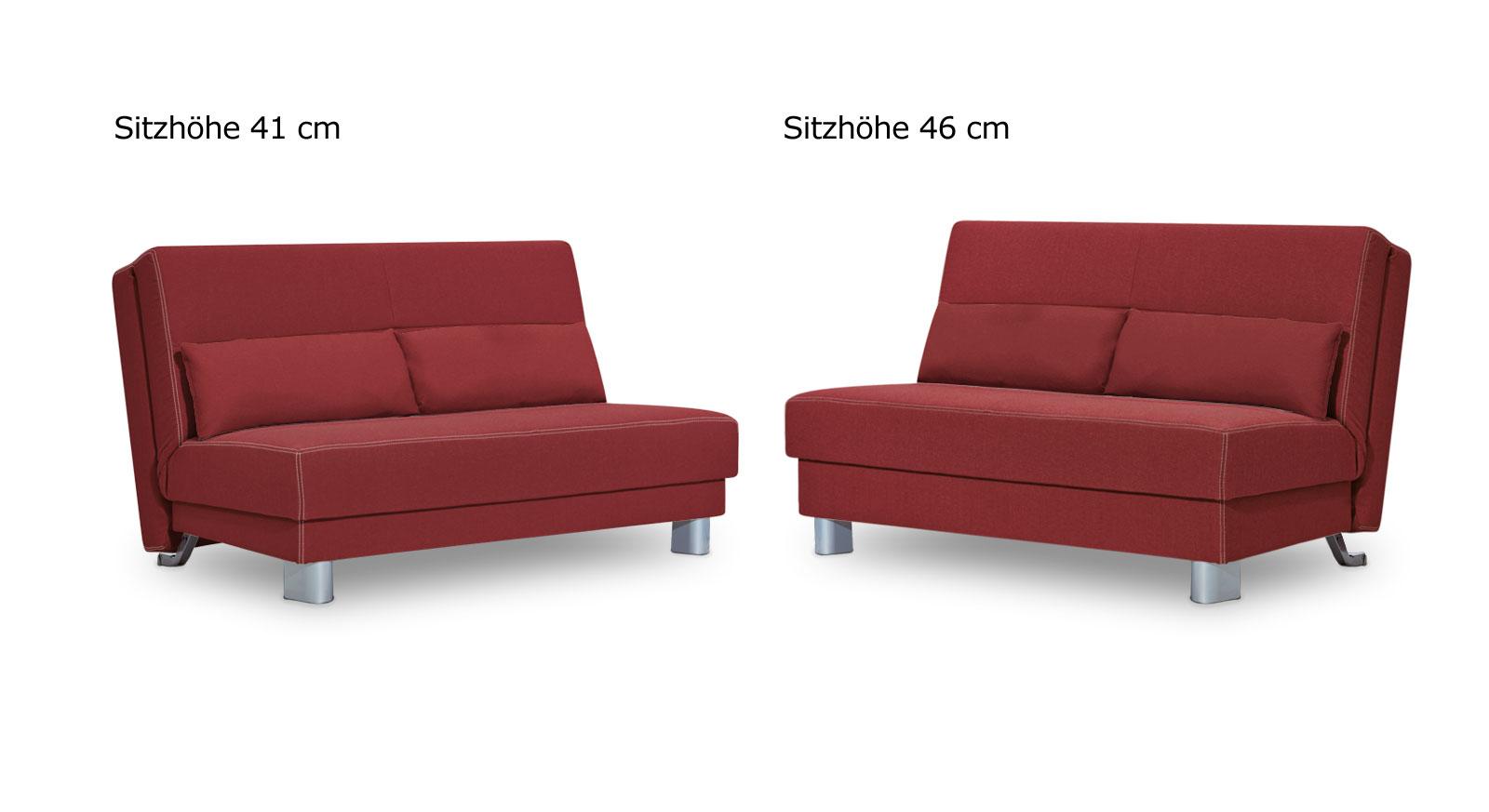 Schlafsofa Shenandoah uni in zwei Sitzhöhen.